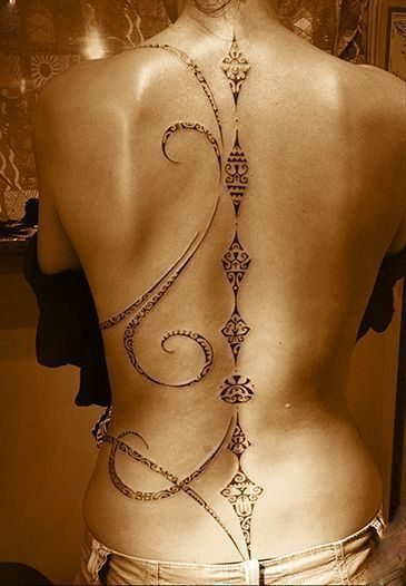 The spine is a good location for sensitive Polynesian tattoos. Here of ...