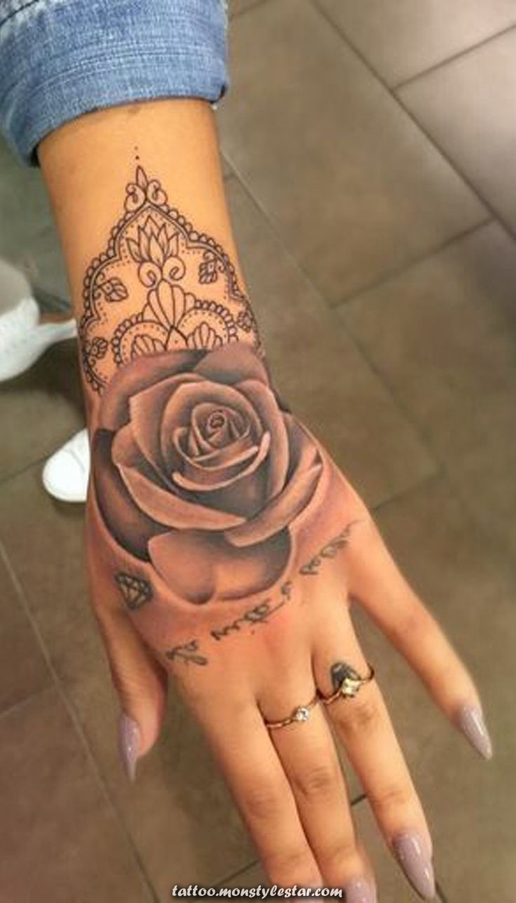Geometric pink hand tattoo ideas for women - Unique watercolor mandala ...