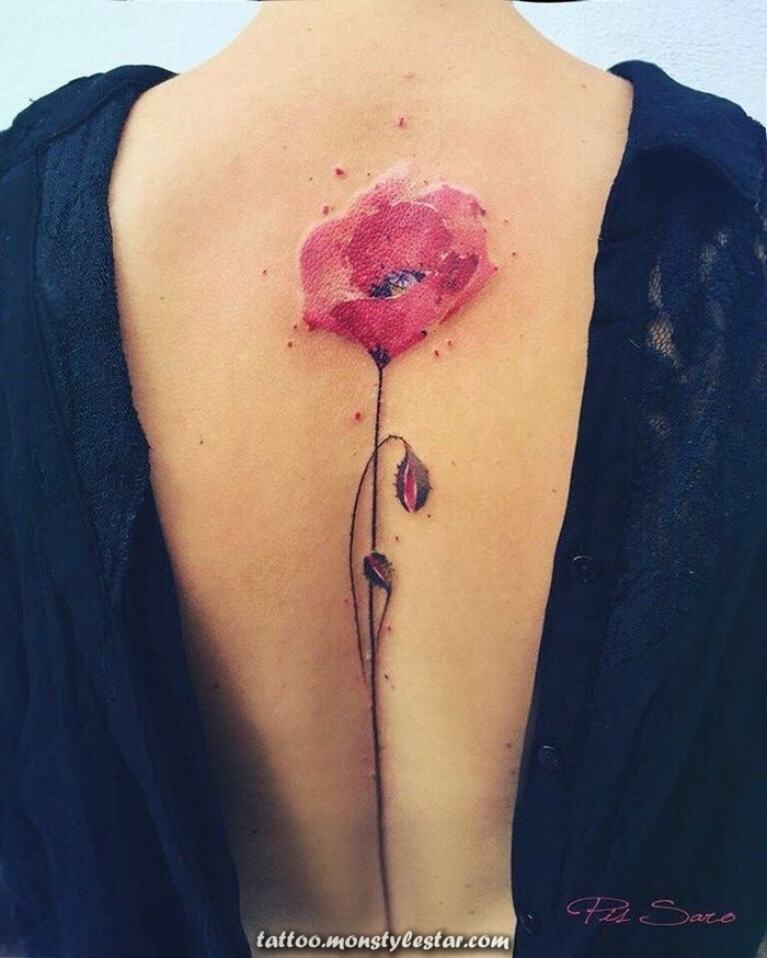 Back tattoo for woman, poppy, red and black, low neckline in the back, blu ...