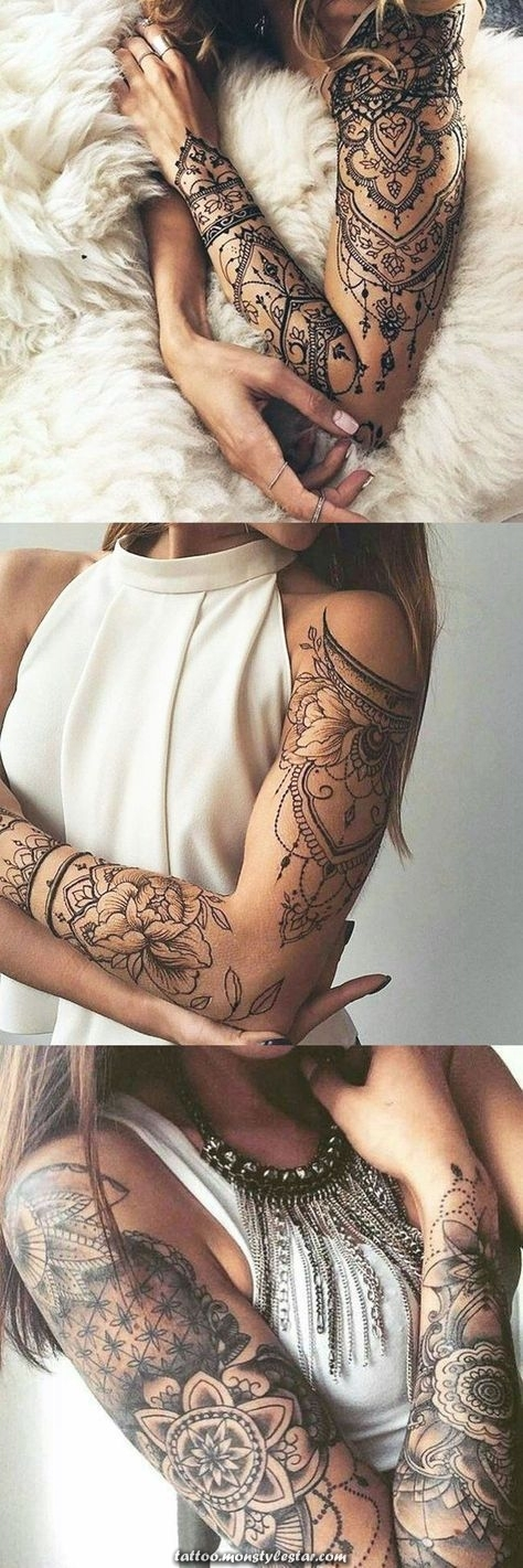 Tattoo ideas with lotus arm sleeves for women at MyBodiArt.com - Tribal Mandala A ...