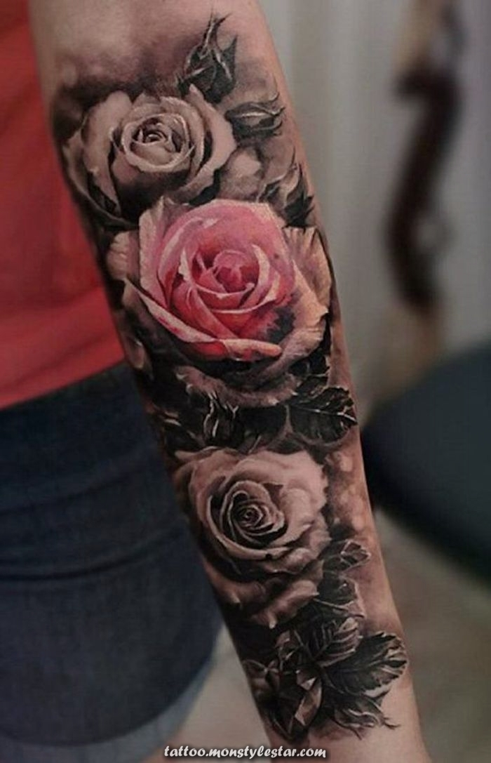 Beautiful tattoos, flower tattoo on the forearm, tattoo of roses #flower ...
