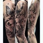 Butterfly star and female skull tattoo - tattoo for woman