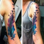 Feather feathers of birds with watercolor effect on the upper arm - Maryam