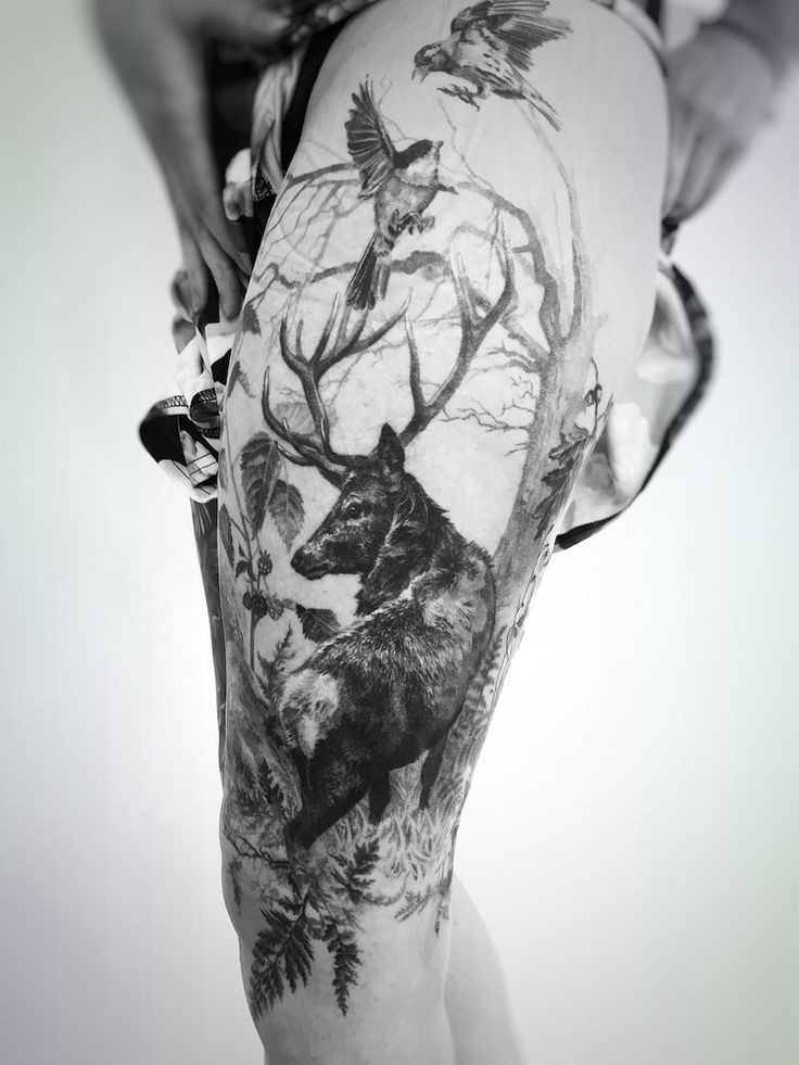 Fine and realistic deer tattoo in the forest with birds - Madlyne van Looy Tatto ...
