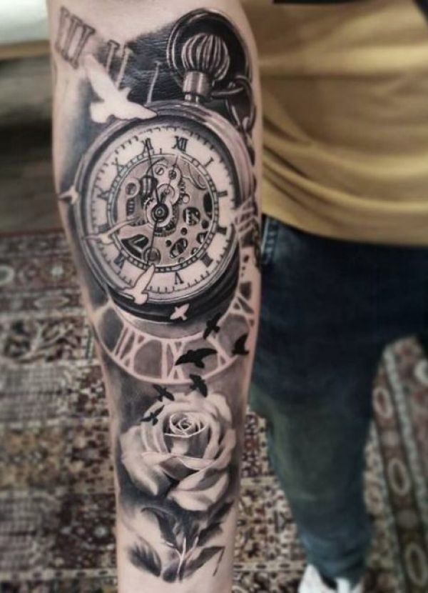 Forearm tattoo for man with ancient roman clock. Around you there ...