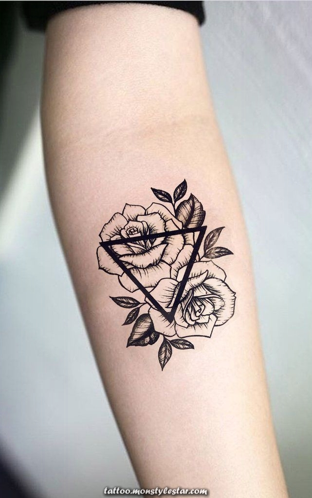 Geometric forearm roses Ideas for tattoos for women - Small triangle flower arm ...