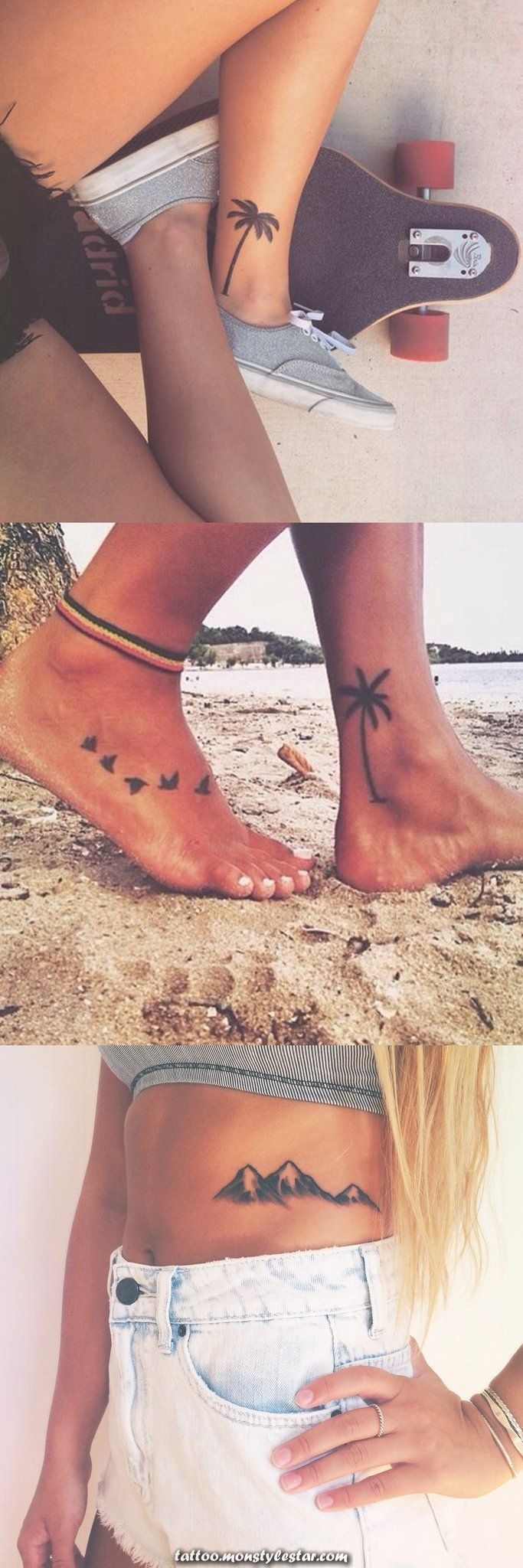 Ideas for palm tattoos for women - Black flower, ankle, foot, tattoo, ...