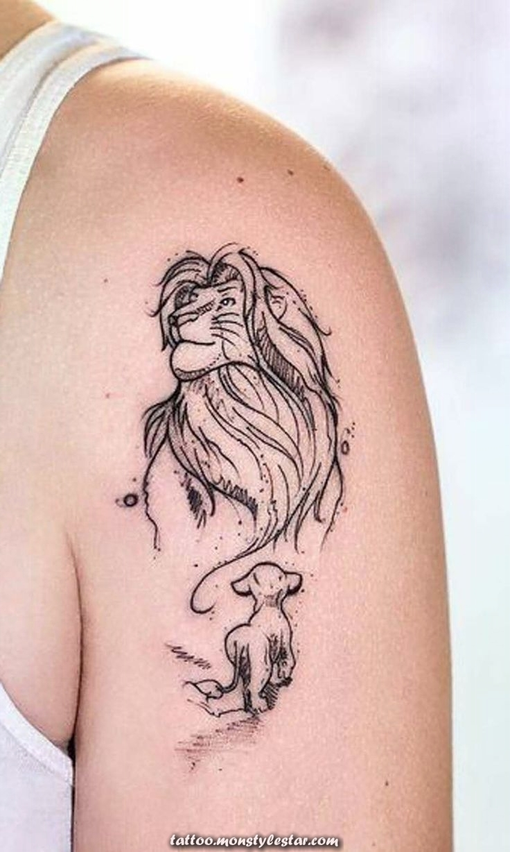 King of the Lions Simba Mufasa Arm Shoulder Tattoo Ideas for Women - Ideas ...