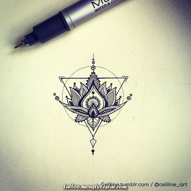 LOTUS FLOWER. Design and idea of ​​tattoo, geometric, illustration, zentangle, Doodle ...