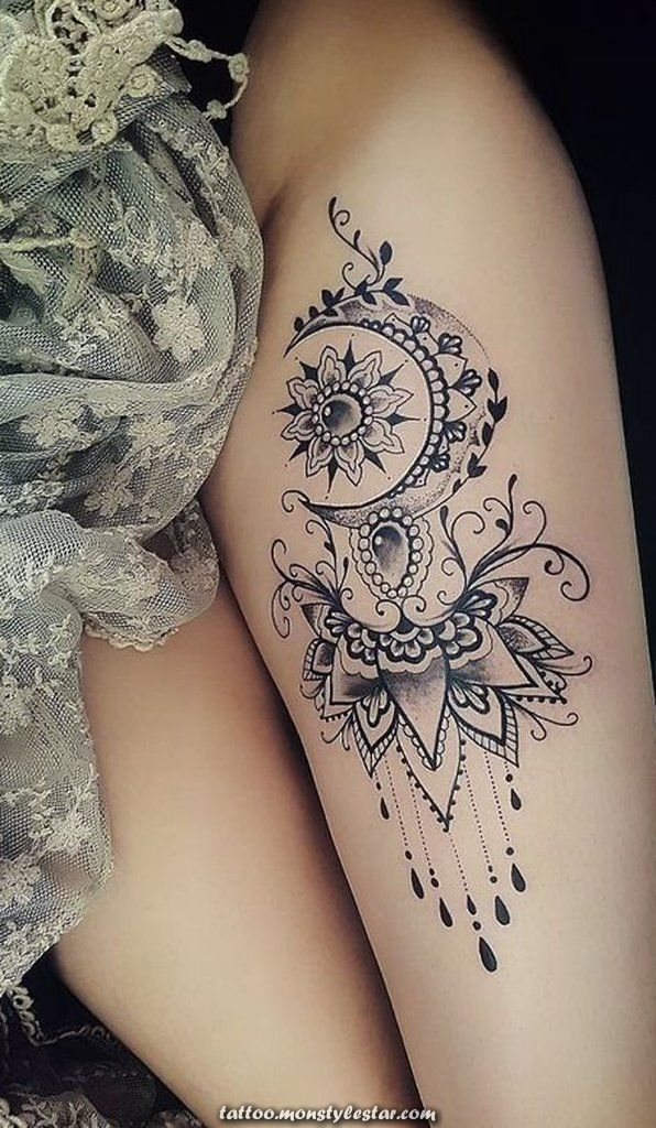 Luna Mandala Thigh Ideas for tattoos for women ... #tattoo thigh - stud ...