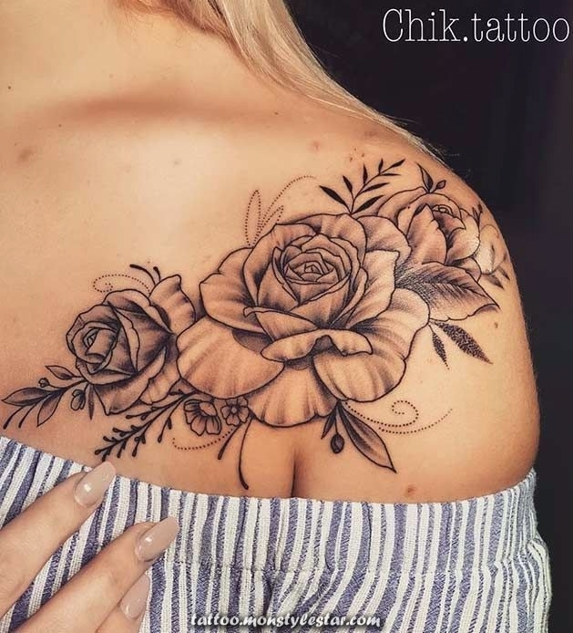 Pink shoulder tattoo for woman - emma