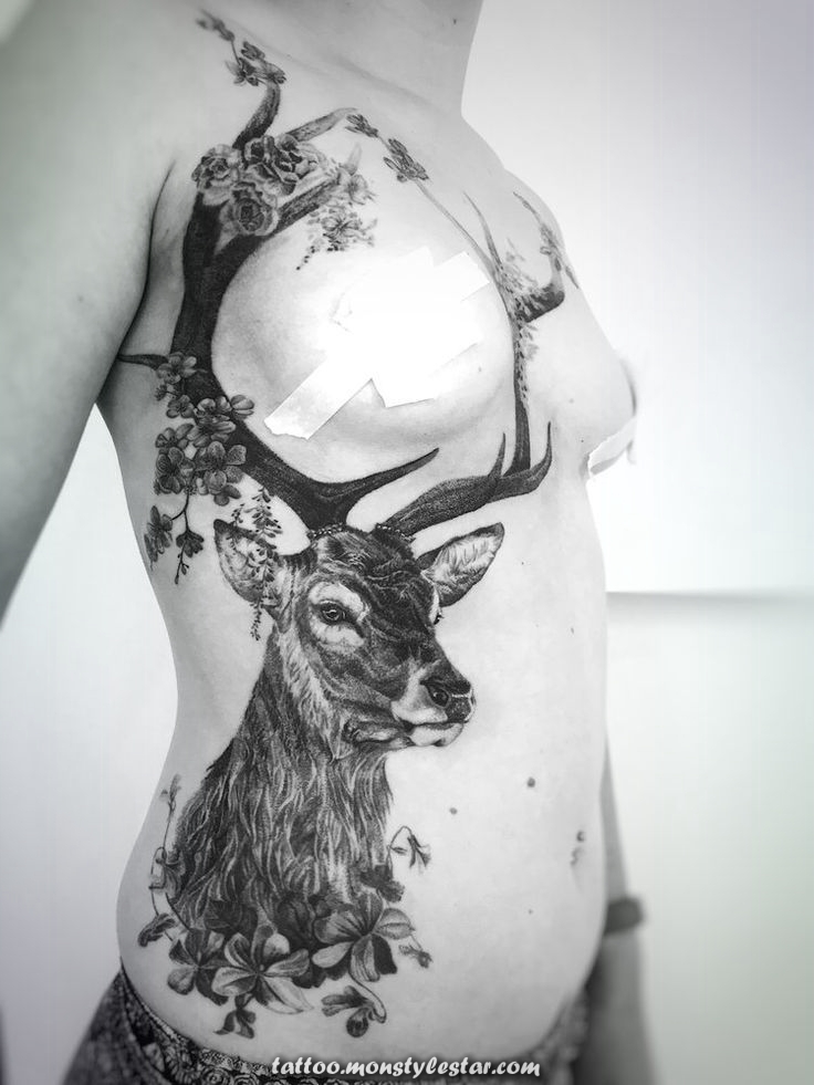 Realistic tattoo of Underboob deer for woman - Madlyne van Looy Tattoo & Ar ...