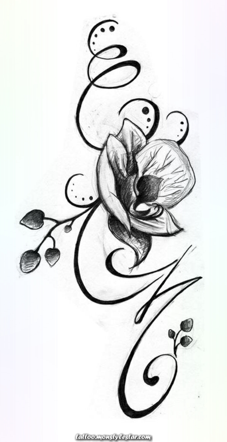 Stylized orchid woman tattoo template - Nic Ole