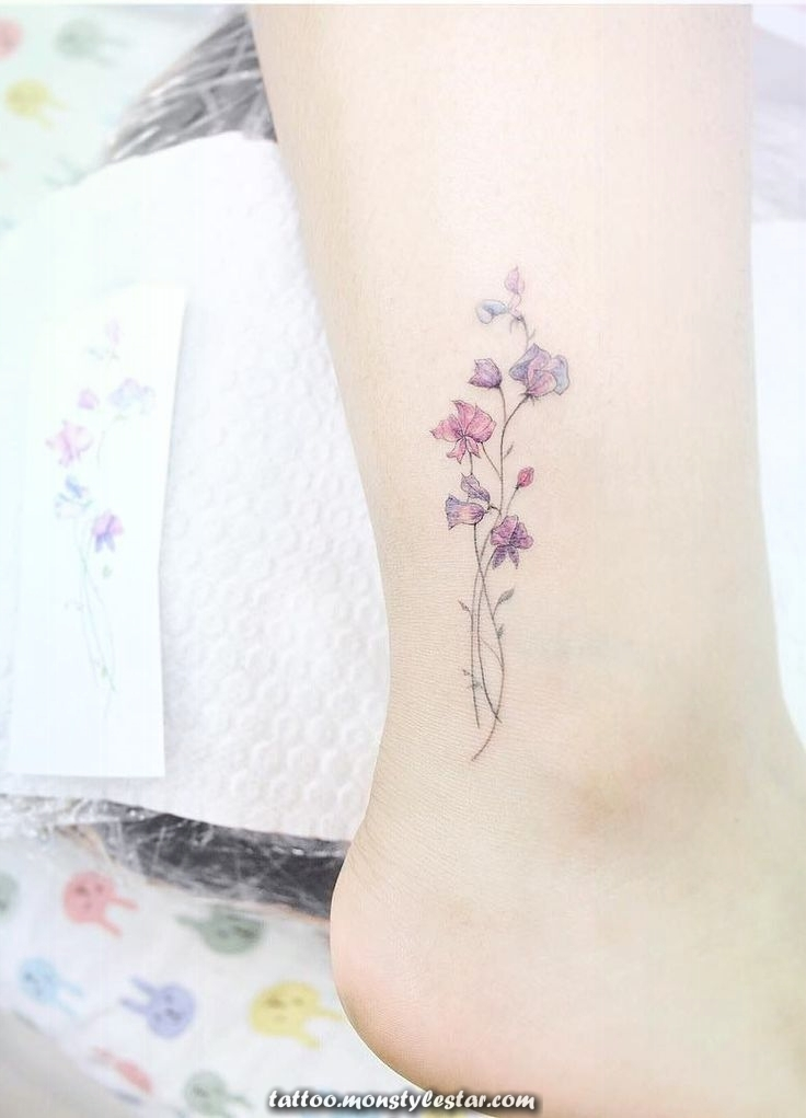 Sweet pea tattoo. Small tattoos are perfect for girls and women alike. Delicate ...