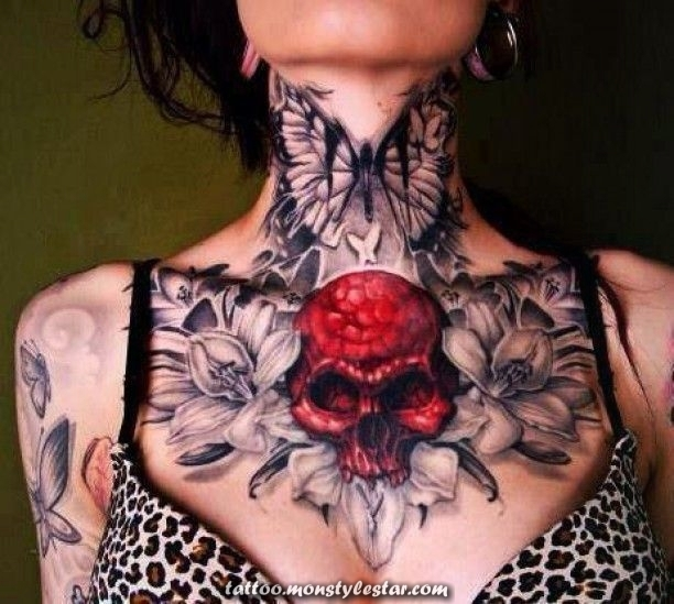 Tattoo Neck Chest Skull Flowers Woman ... - Amodalia