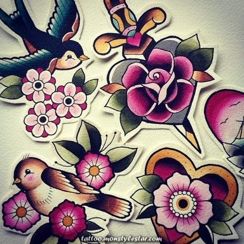 Tattoo for women - traditional neo floral tattoos - Google Search - pinbuild