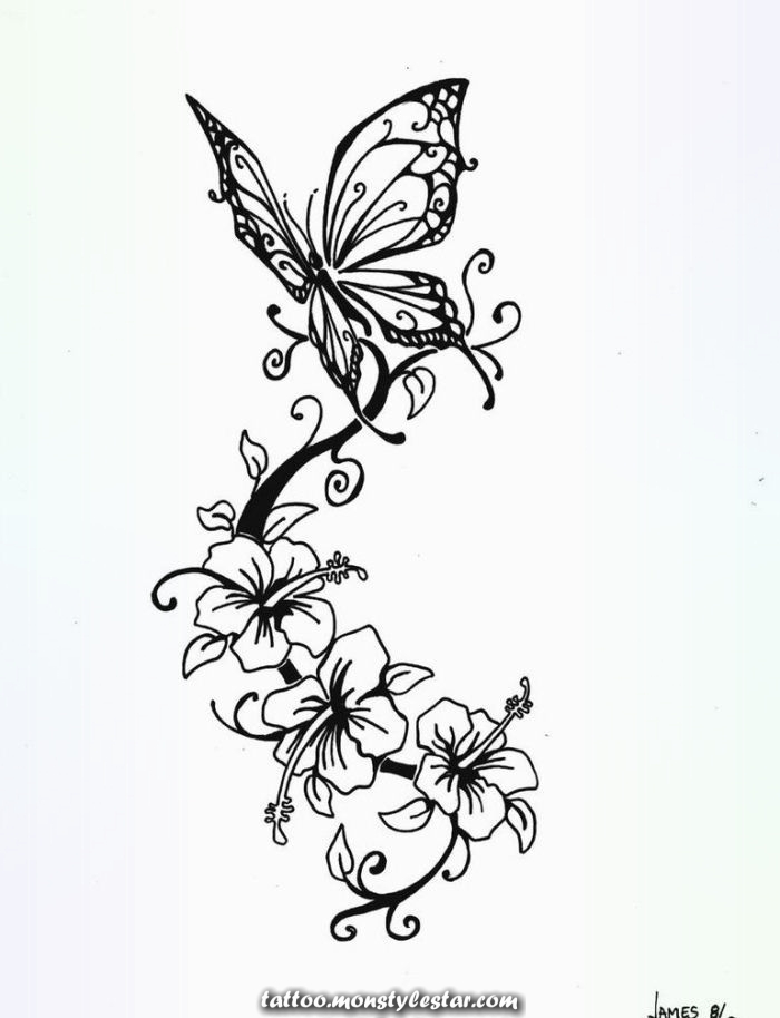 Tattoo templates with butterfly and floral motifs for women - Joachim Janßen