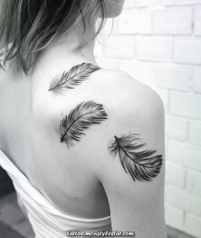 Tattoos for women, three soft feathers tattooed on the shoulder - Leslie Anne