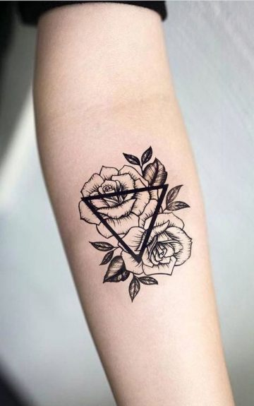 Temporary tattoo of black pink floral sunflower by Salix Vintage - Ace Artist