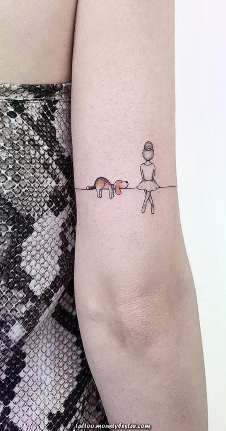 Unique Ballerina Dog Landscape Elbow Tattoo Back Ideas for ...