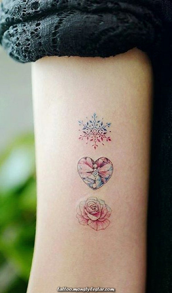 Unique beautiful watercolors, triple, three roses, tattoo, arm, ideas for women
