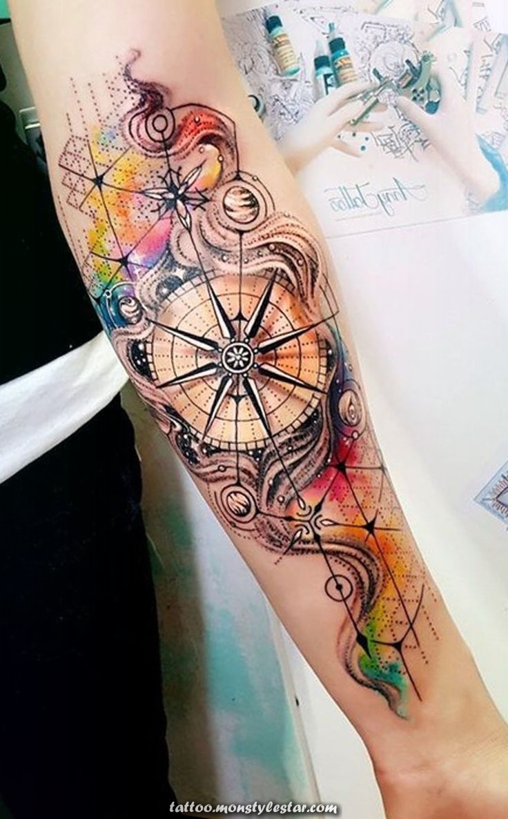 Watercolor compass forearm tattoo ideas for women - tattoo ideas with ...