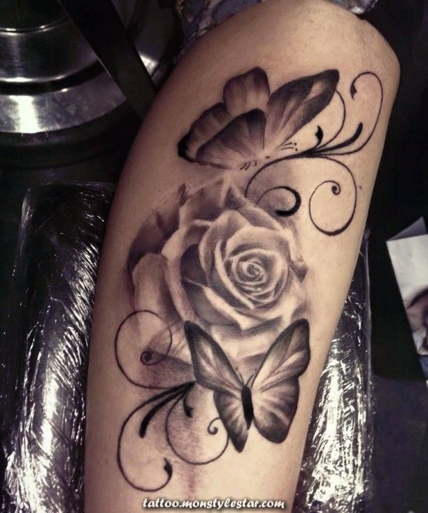 White rose with butterfly tattoo - Jana Plesch