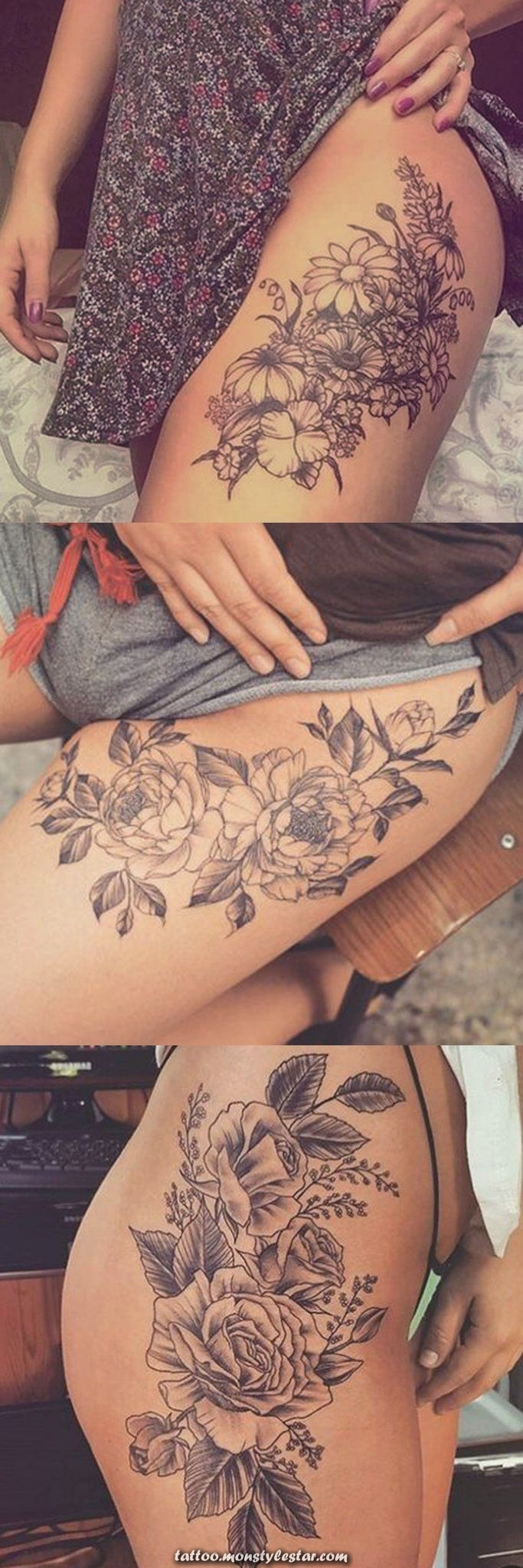 Wild Rose Thigh Tattoo Ideas at MyBodiArt.com Flower delicate floral leg ...