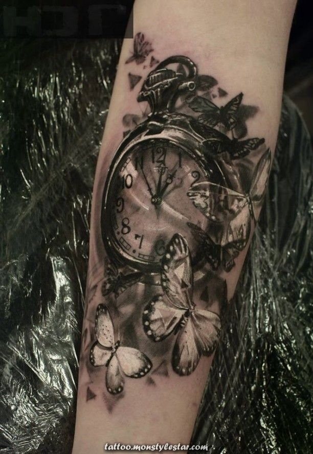 dastattooideen.ml/ - # 3D #Jennifer #Meyer #with #Butterflies #tattoo #clock - d ...