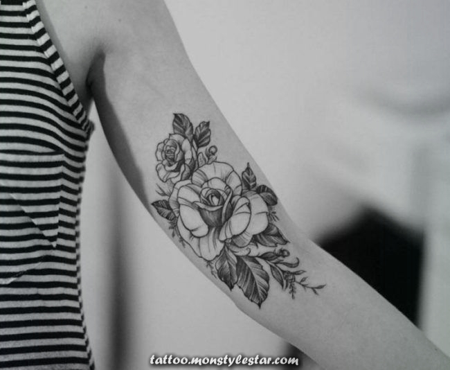 tattoo-in-the-arm-pink-shape-black-color-flower-ladies - Jacqueline Hörman ...
