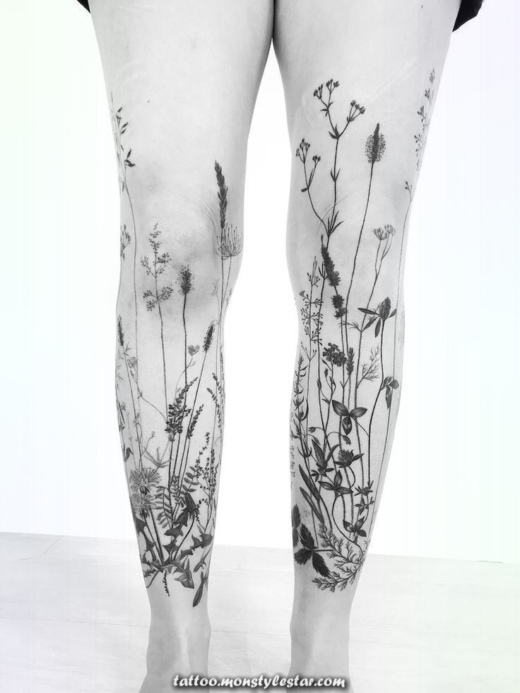Grass tattoo sleeve on both legs for women (from the front - Ada Tenniel)