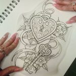 Unique tattoo for ladies: heart medallion with key tattoo ... More ...